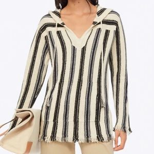 Tory Burch Striped Baja Pullover In White NWT
